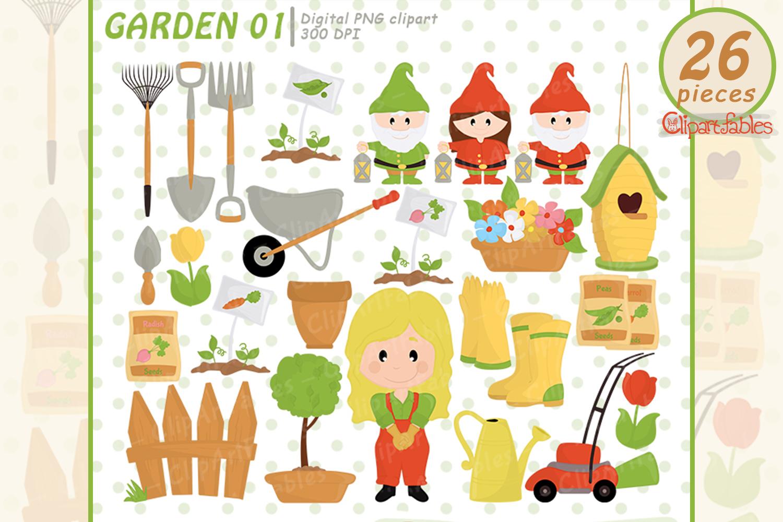 Garden clipart, nice gardening clip art - INSTANT download example image 1