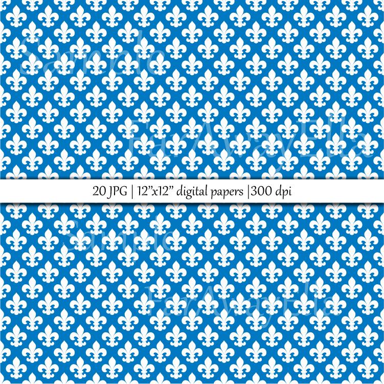 Fleur De Lis JPG digital paper | 20 seamless backgrounds example image 2