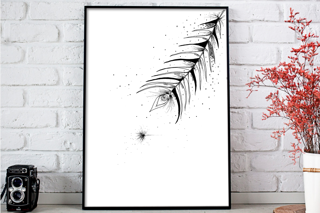 Tribal Feather Floral Ink Art, A1, SVG example image 1
