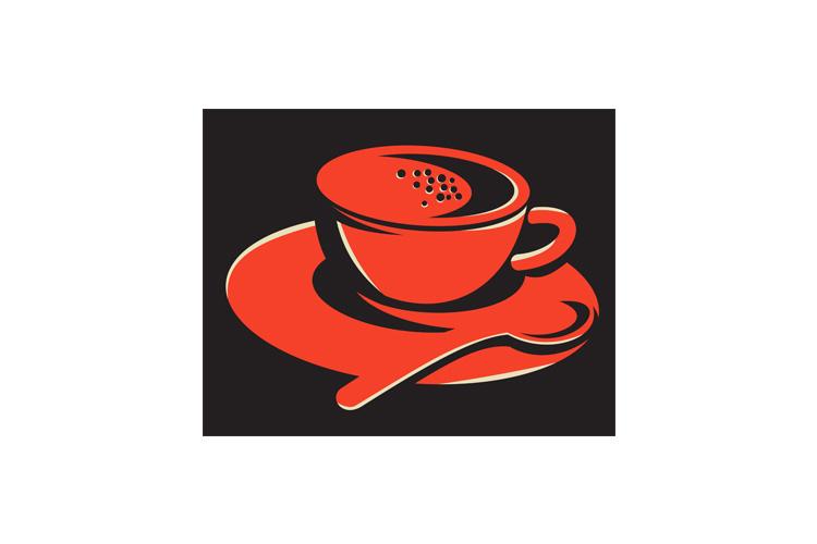 coffee cup bubbles spoon retro example image 1