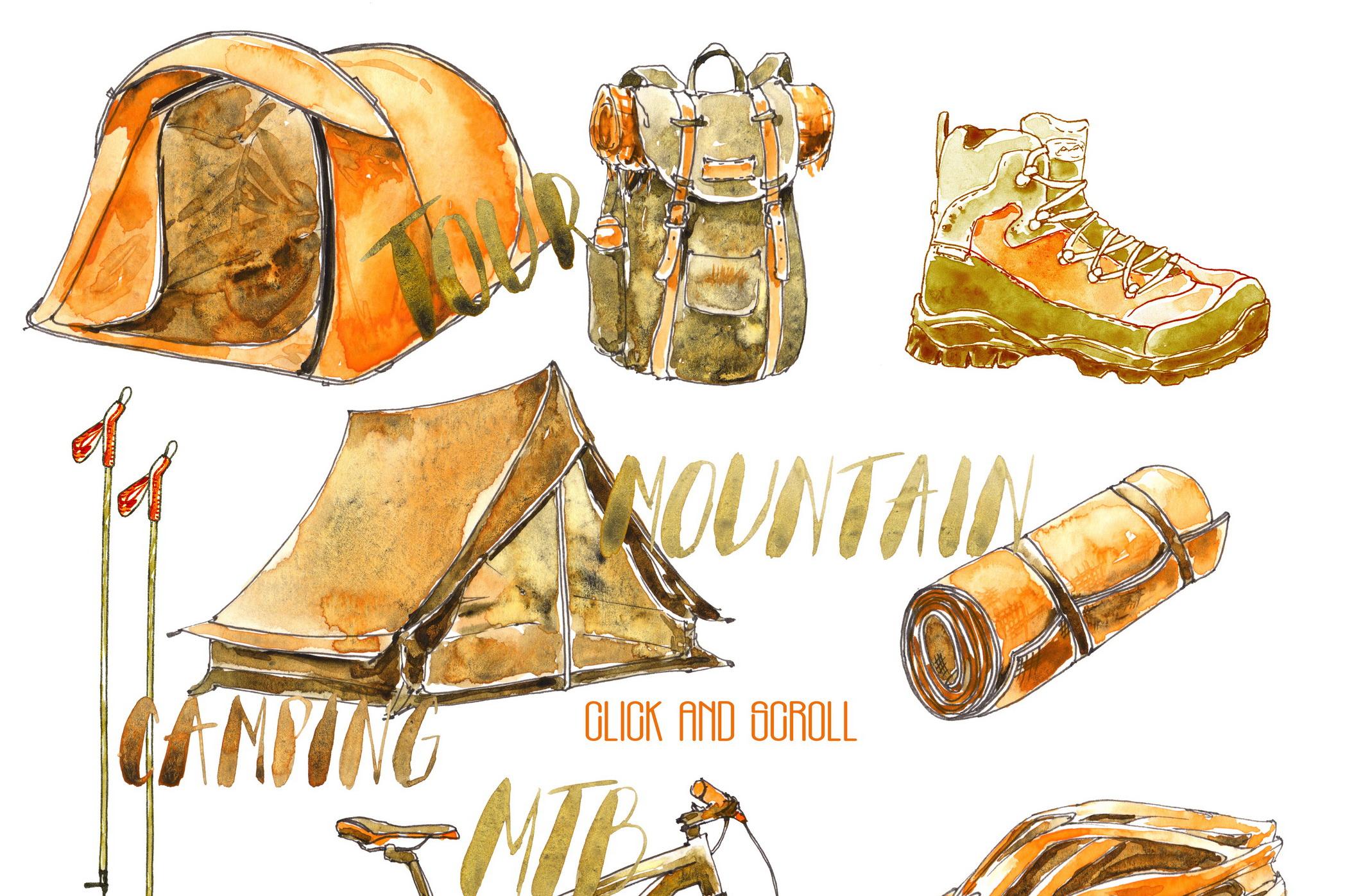 Outdoor Activities Watercolor Sketch example image 5