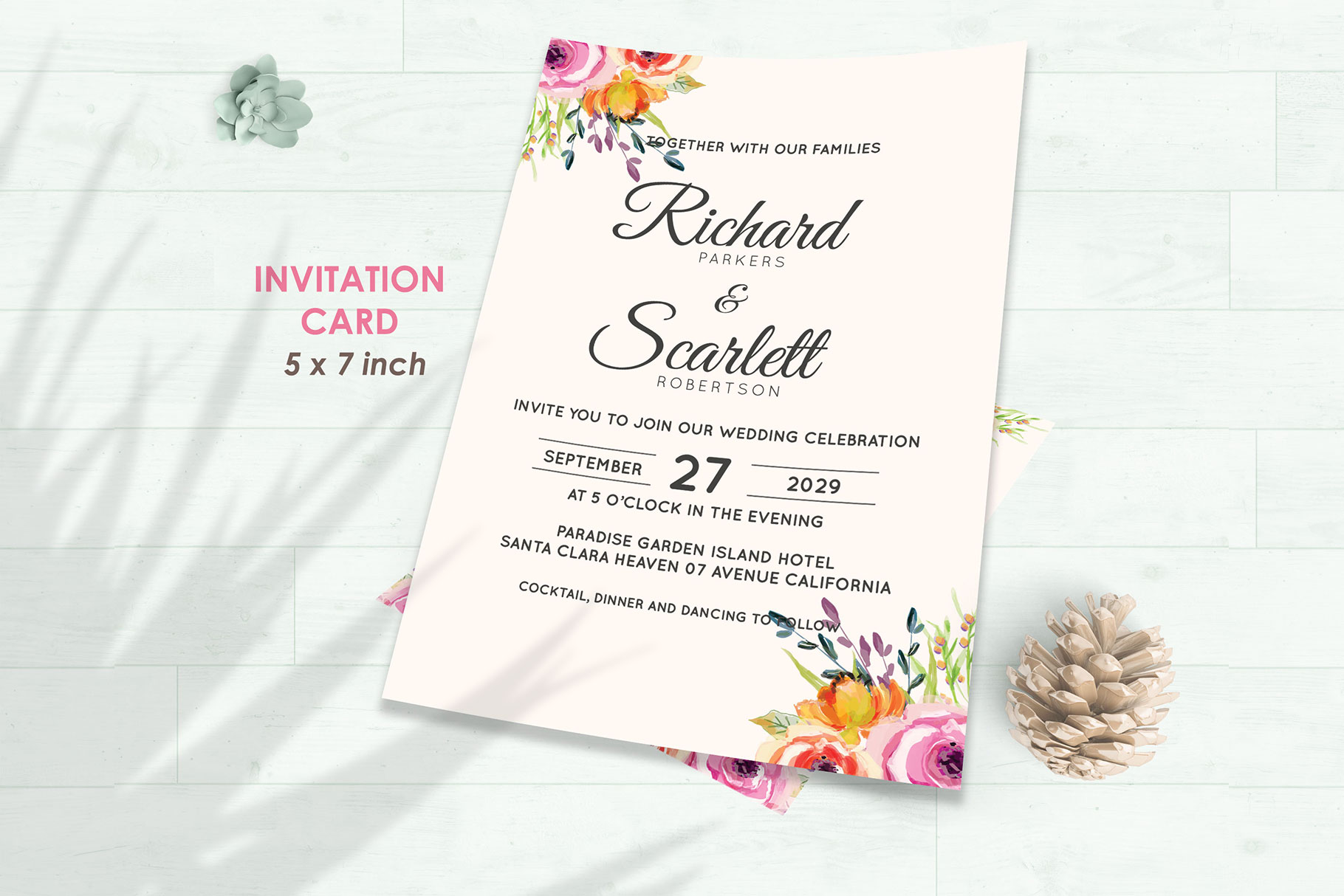 Wedding Invitation Set #5 Watercolor Floral Flower Style example image 2