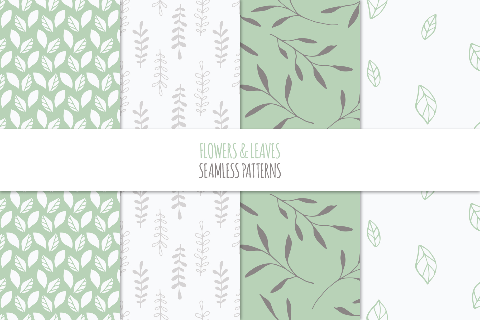 Floral Seamless Patterns - Green example image 5