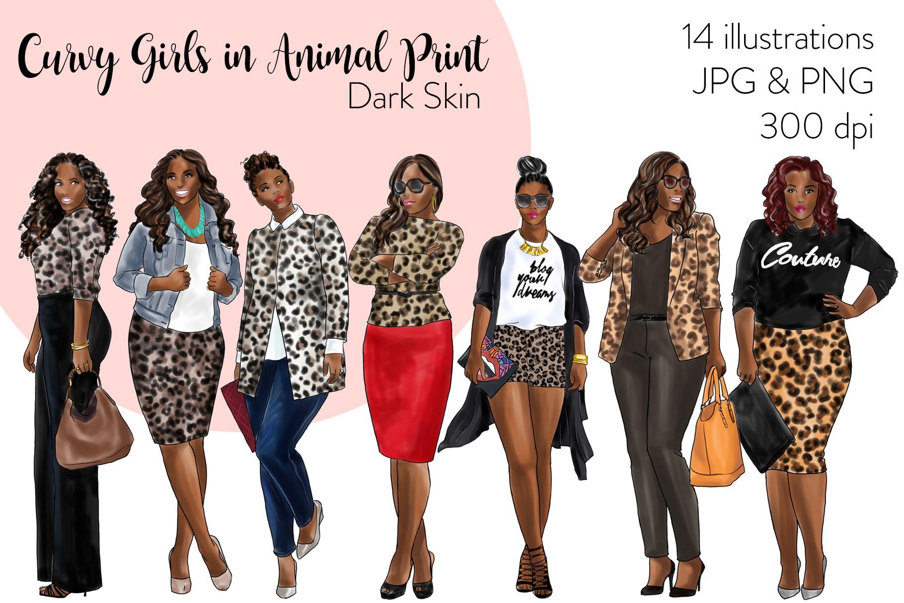 Fashion clipart - Curvy Girls in Animal Print - Dark Skin example image 1