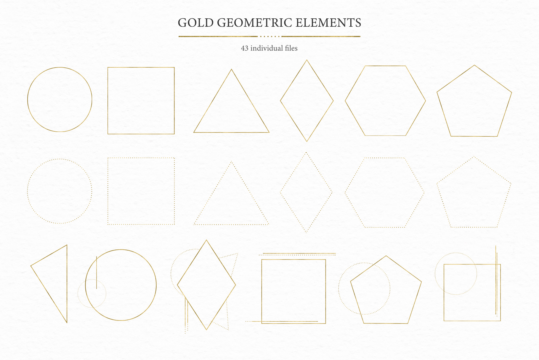 Geometrical. Gold & Watercolor Kit example image 12