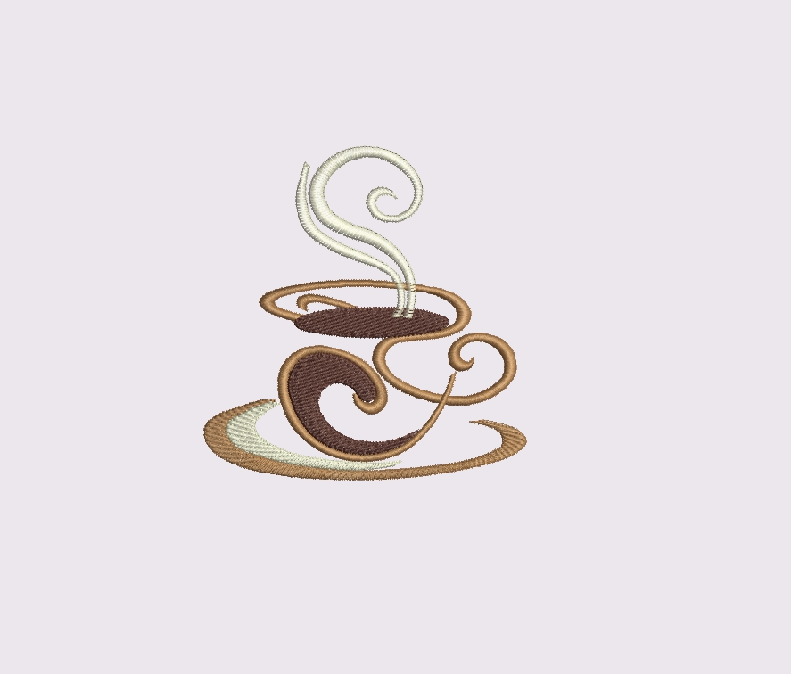 Coffee set - machine embroidery designs. 2 designs, 6 sizes example image 3
