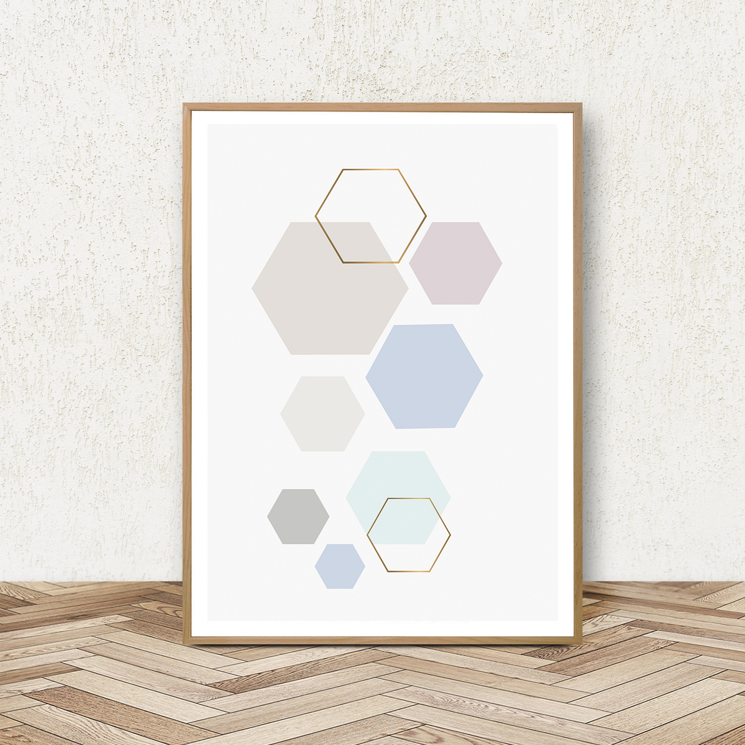 Geometric Print Set of 3, Blue and Pink Wall Art, Pastel Art example image 4