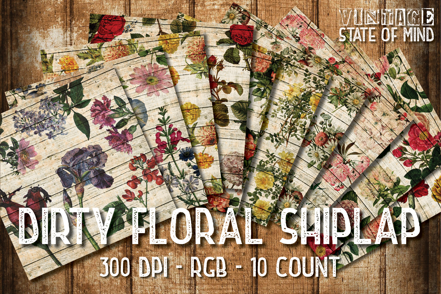 Floral Shiplap Digital Papers example image 2