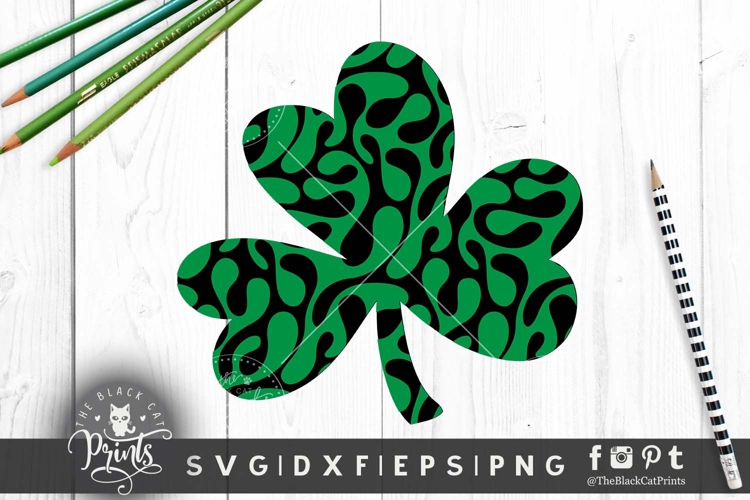 Shamrock Clover Clipart SVG DXF EPS PNG example image 5