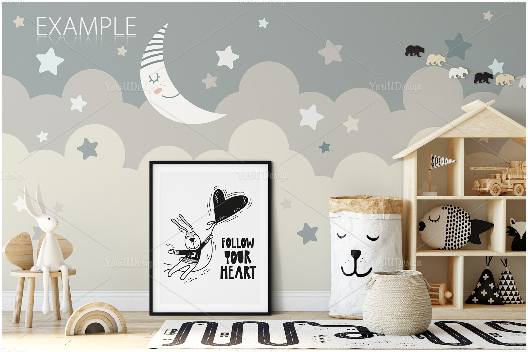 Kids Frames & Wall Mockup Bundle - 5 example image 11