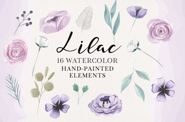 Lilacs 16 Watercolor Elements Florals Berries Flowers Purple example image 1