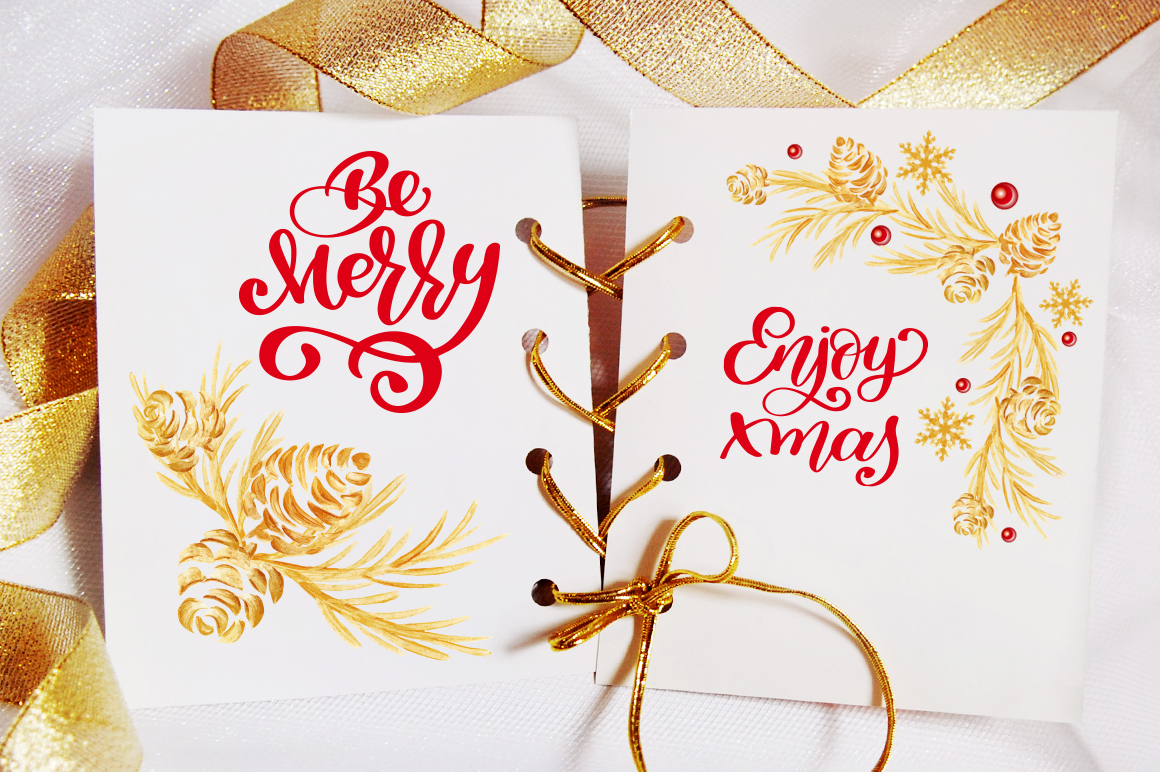 Merry Christmas Hand Draw Lettering Objects example image 6
