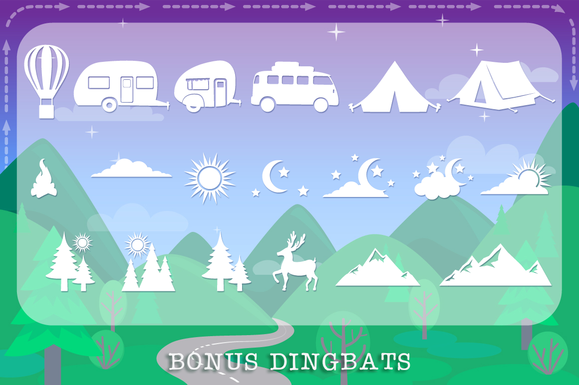 Let's Go Camping | Camping & Hiking Font with Extras example image 8