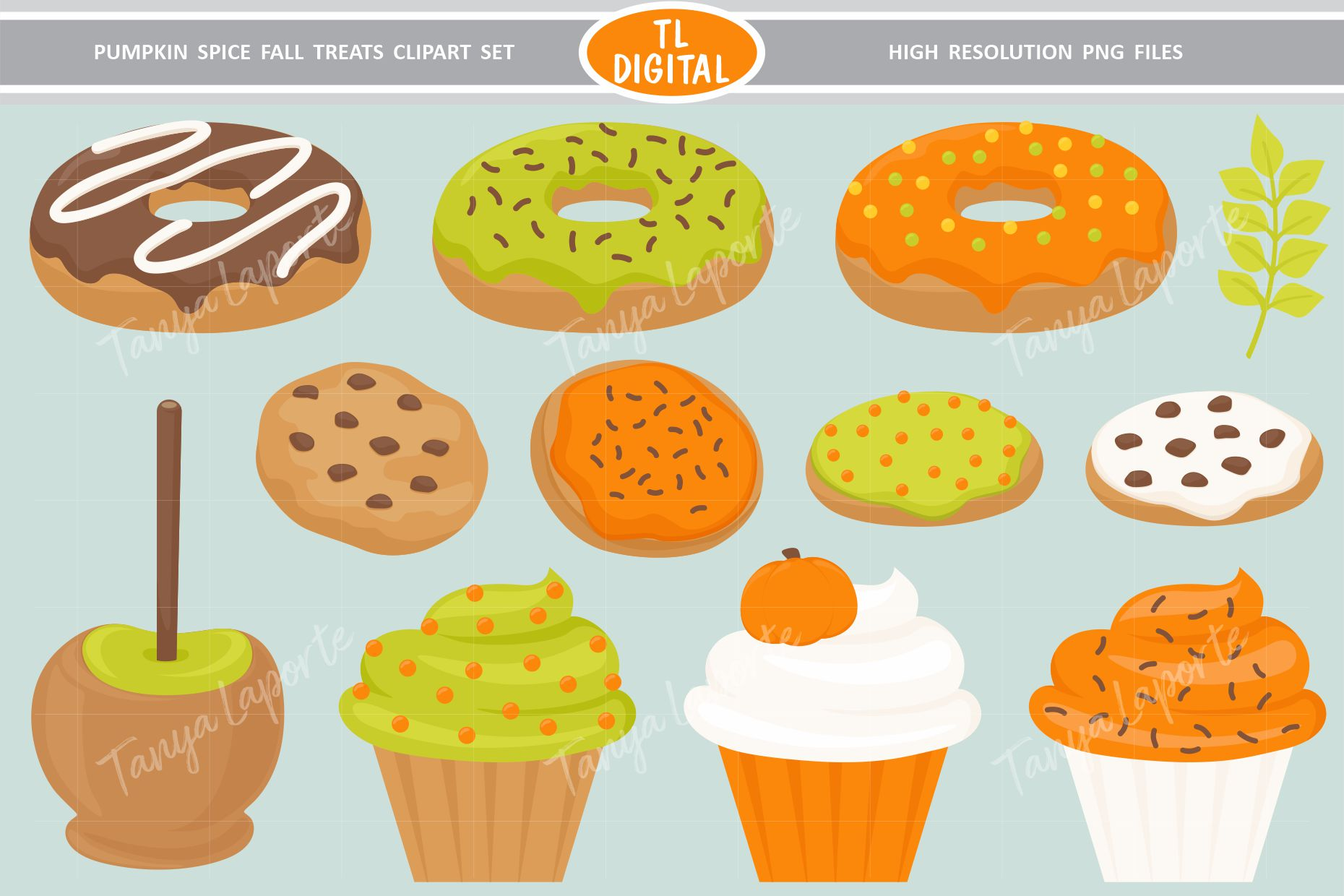 Pumpkin Spice Fall Treats Clipart - 32 PNG Graphics example image 2