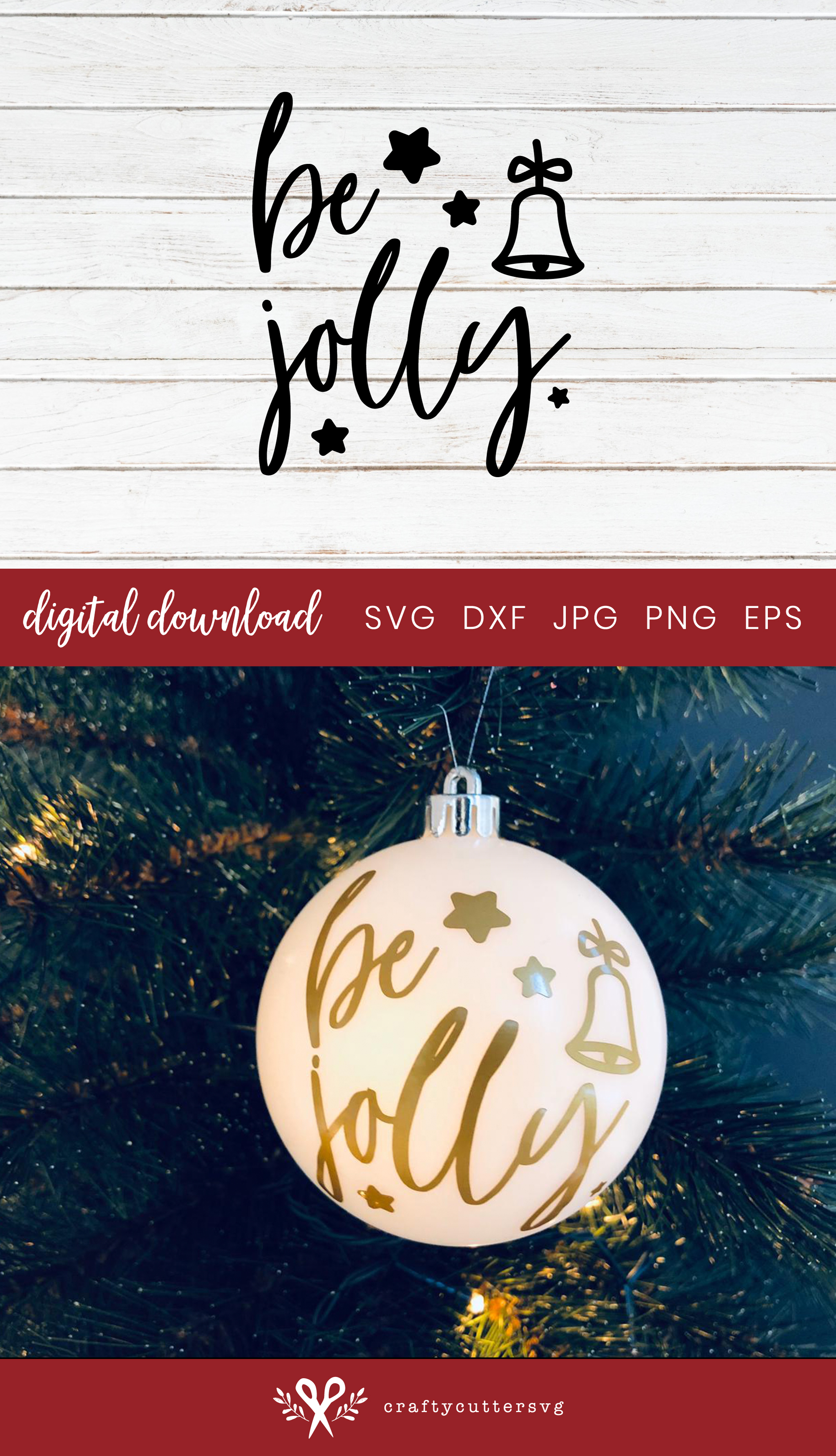 Christmas Ornament Be Jolly Svg Cut File Bell Clipart example image 3