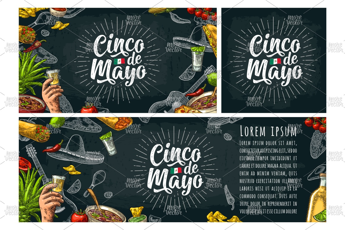 Cinco de Mayo lettering and mexican food. Vector engraving example image 2