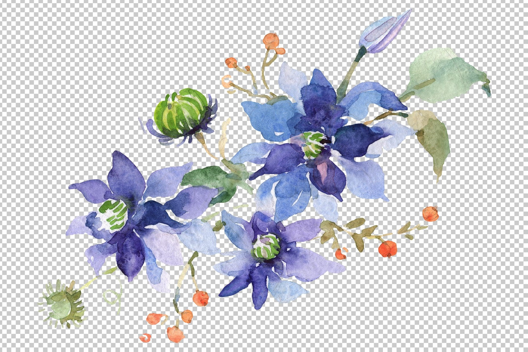 Bouquet Angelic flight Watercolor png example image 4