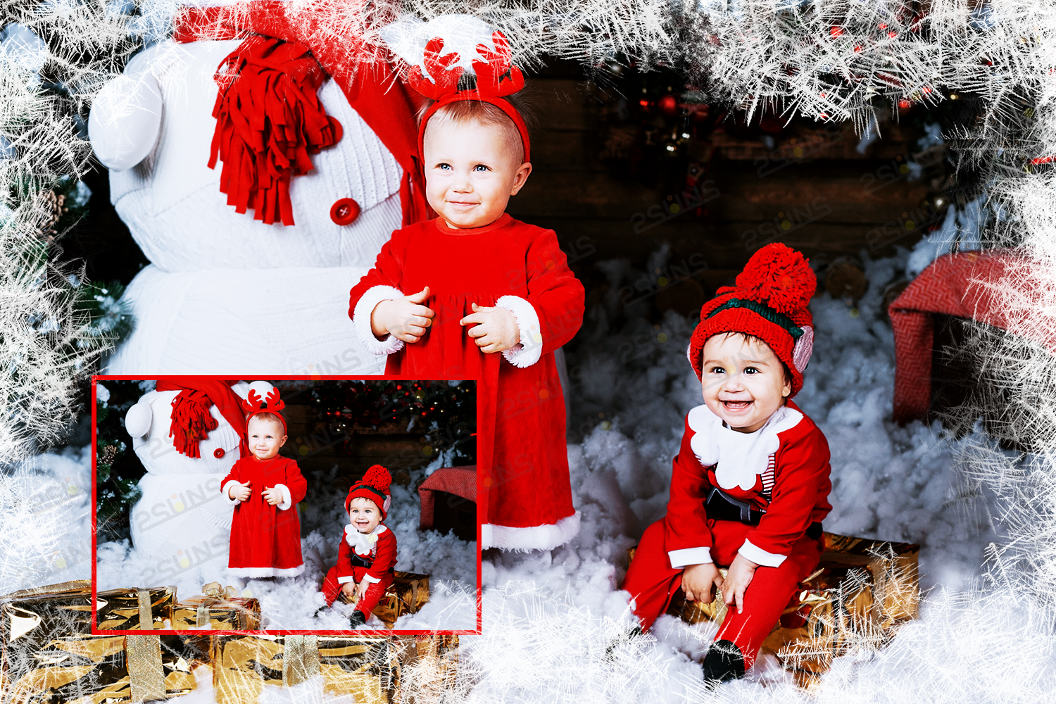 Download photo overlays, christmas winter frames PNG example image 3