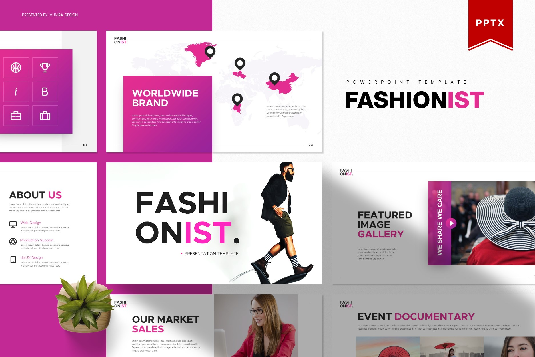 Fashionist   Powerpoint, Keynote, GoogleSlides Template example image 1