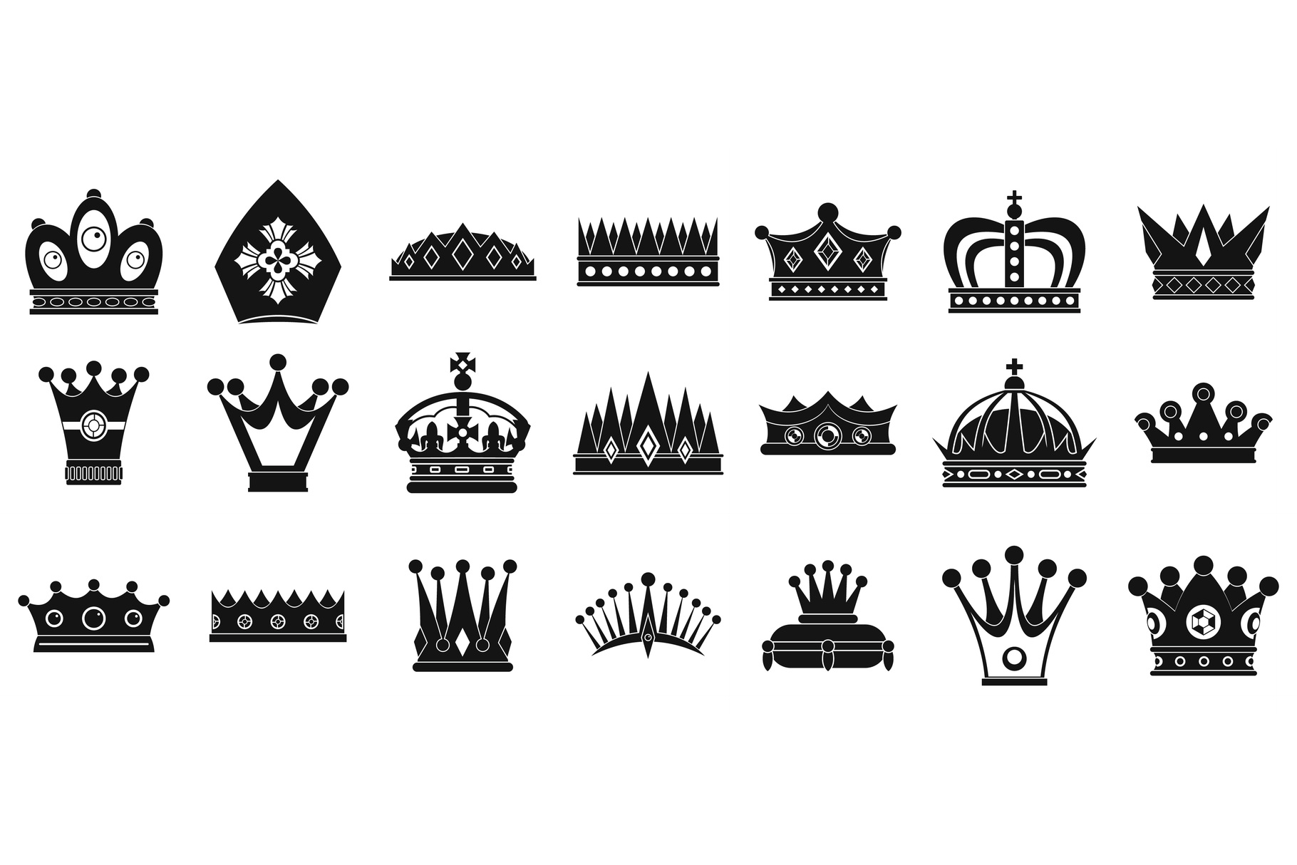 Crown icon set, simple style example image 1