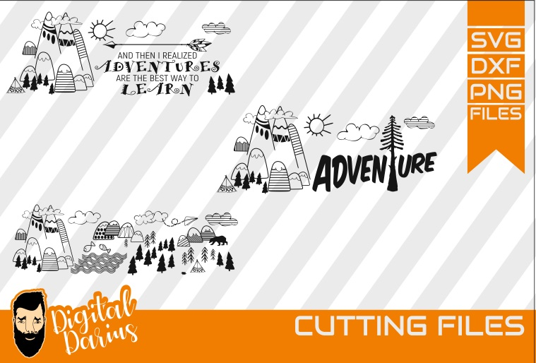 3x Adventure SVG, Travel Svg, Hobby dxf, Mountains, Go Wild example image 1