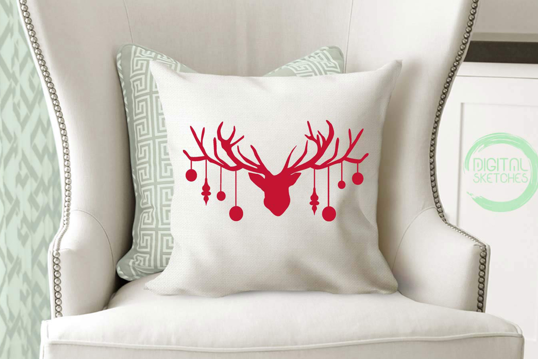 Deer Head Antlers Bells Cut File Vector Graphics Illustratio example image 2