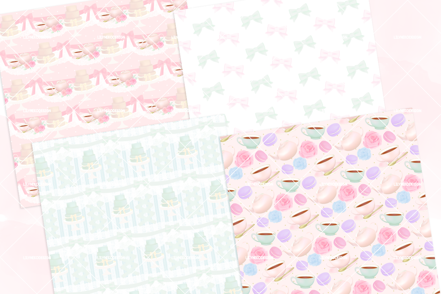Macaron Afternoon Tea party Pattern Digital Papers example image 3