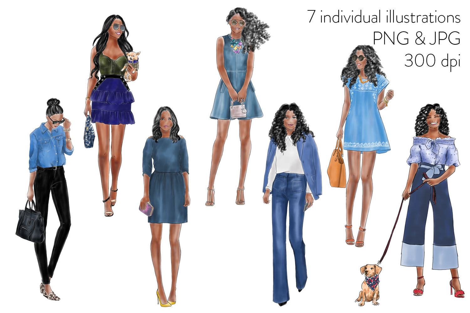 Watercolor fashion illustration clipart - Girls in Denim - Dark skin example image 2