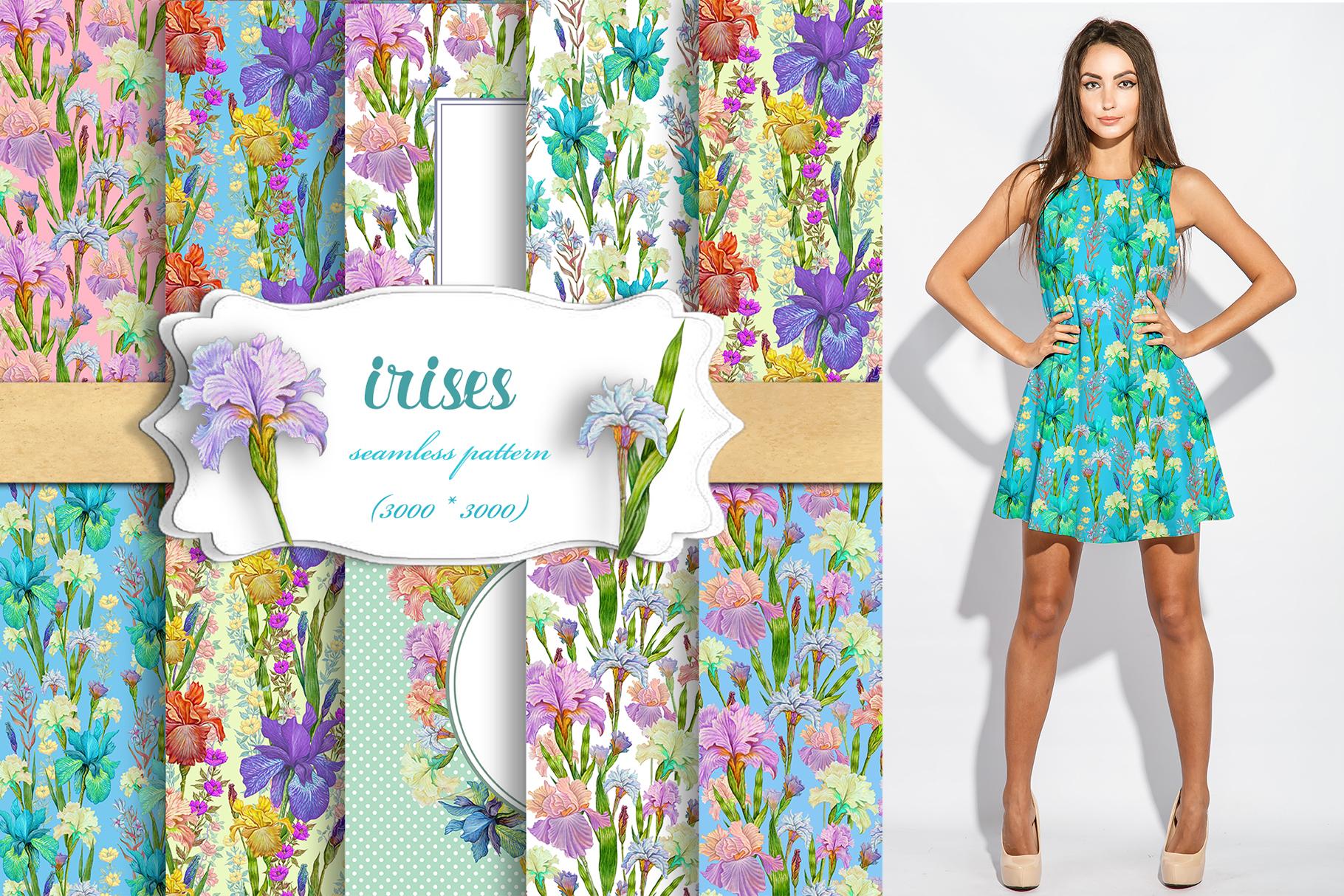 Iris digital paper. seamless pattern.Floral digital paper. example image 1