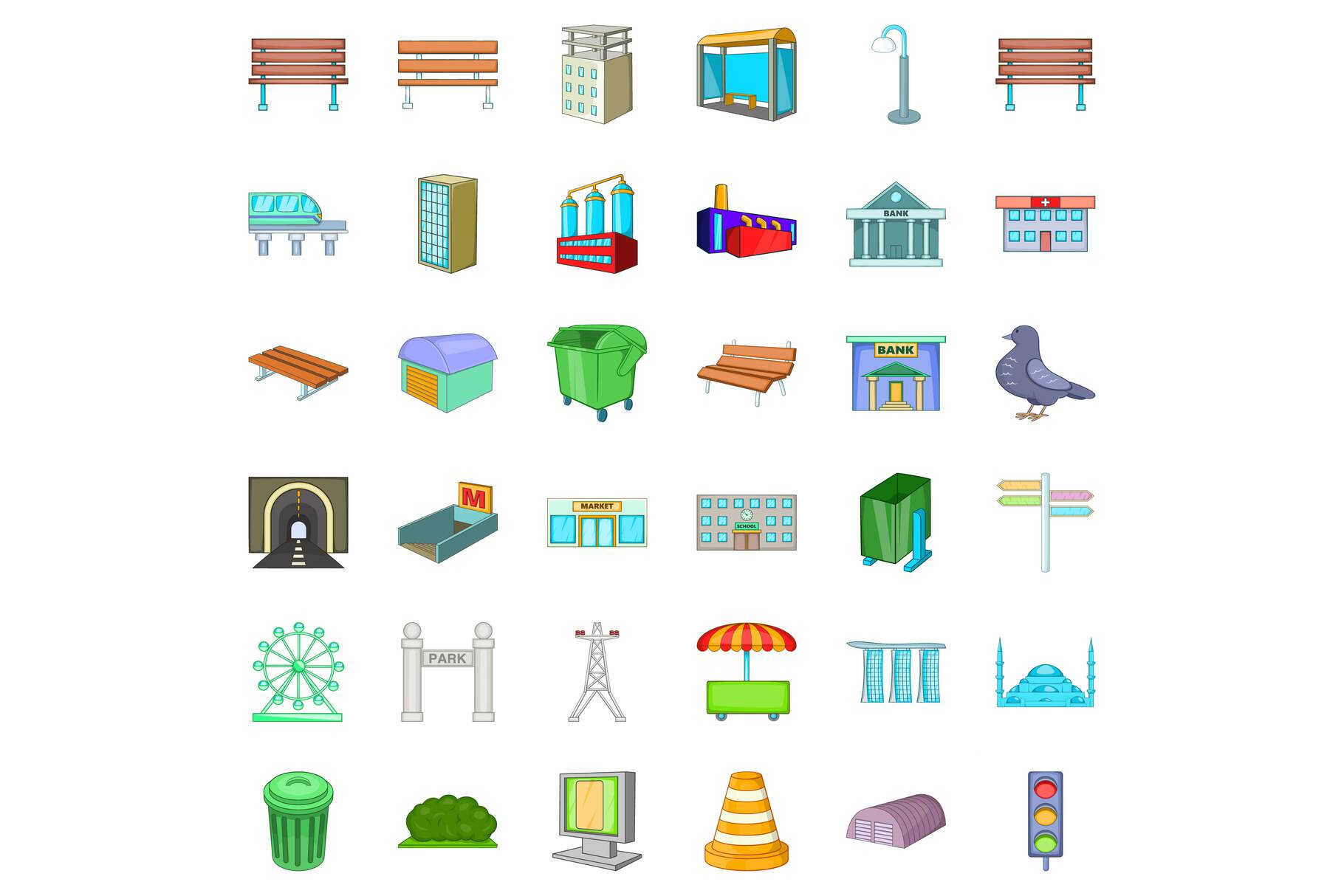 Big city icons set, cartoon style example image 1