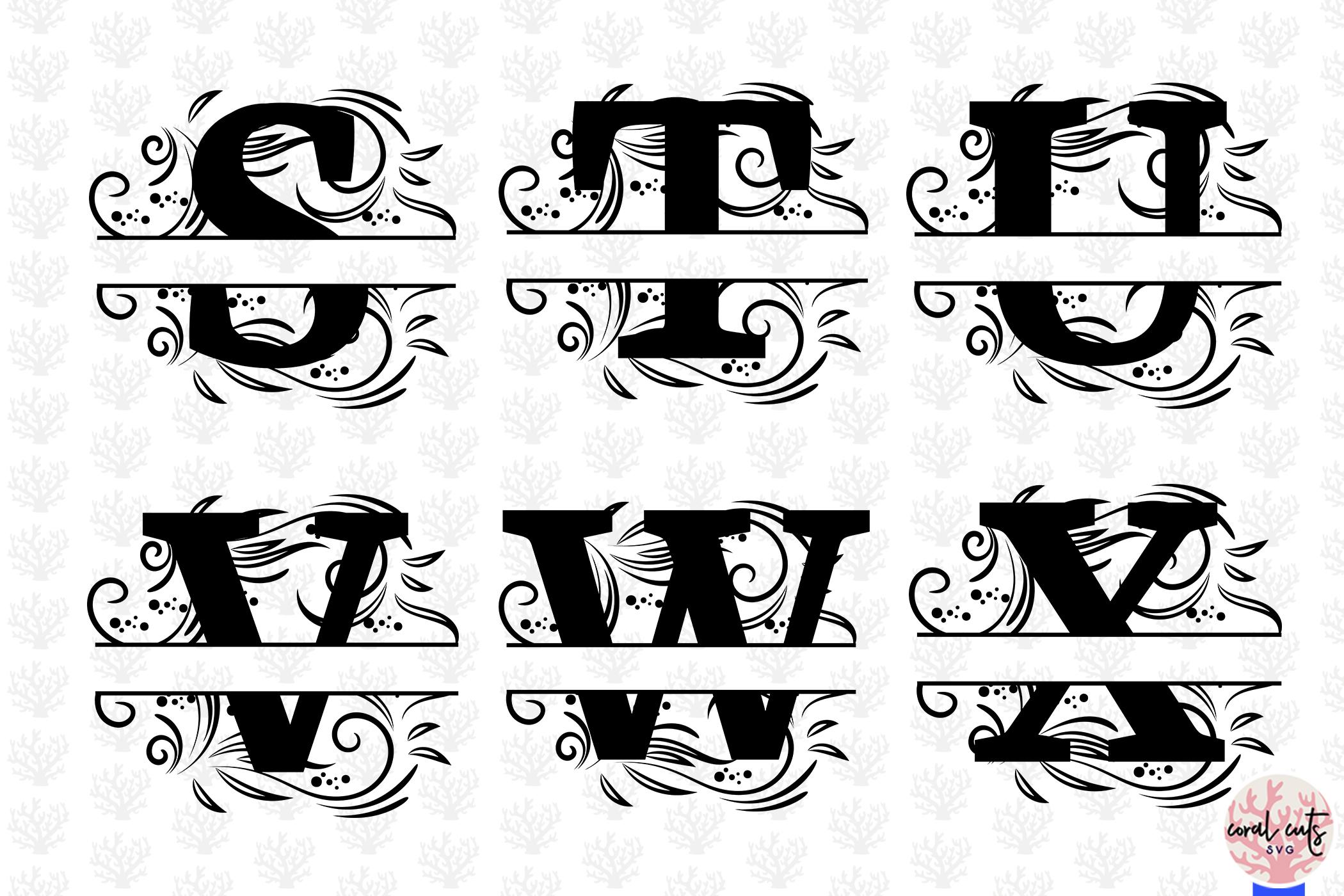 Floral Split Alphabet Monogram - Svg EPS DXF PNG File example image 5