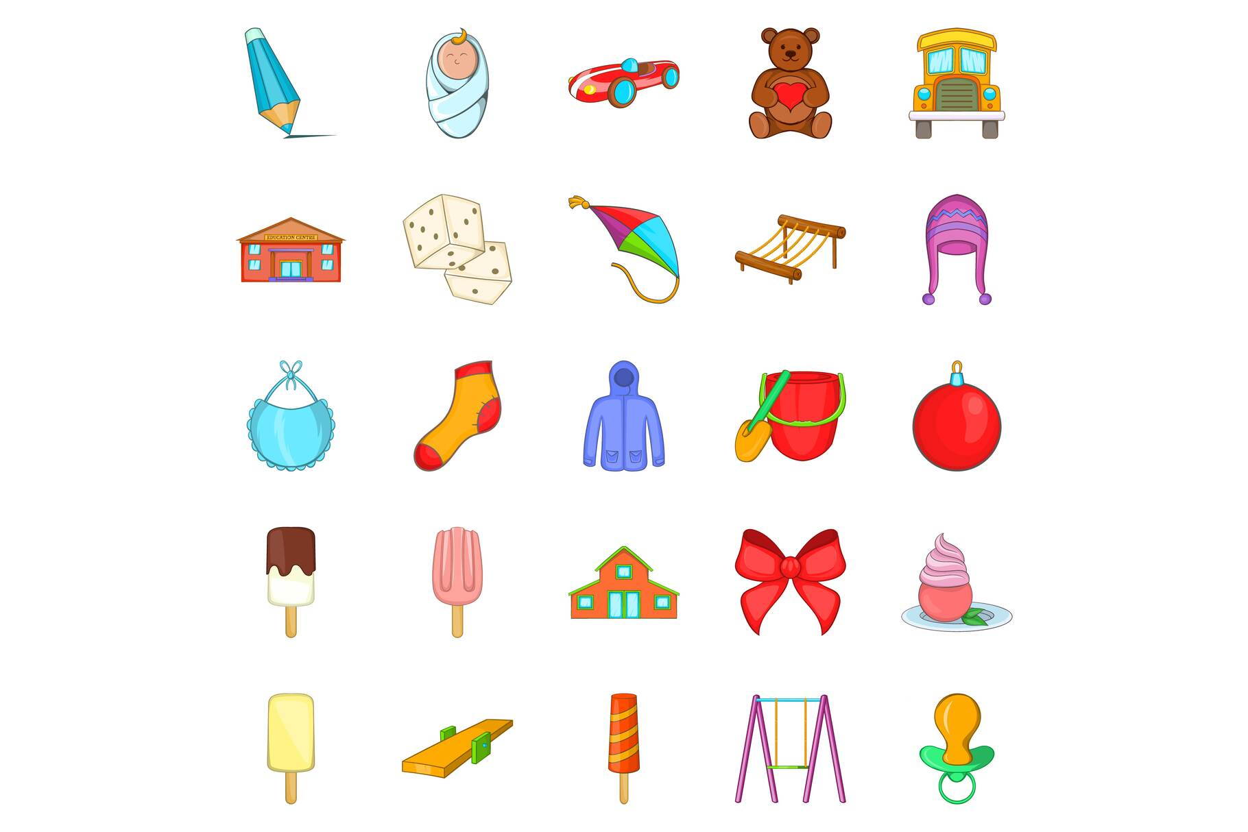 Small children icons set, cartoon style example image 1