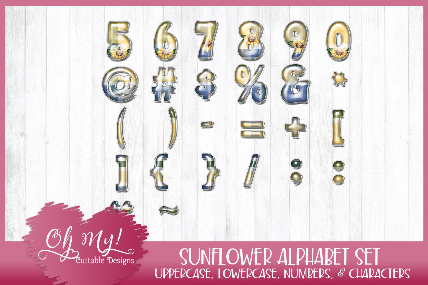 Sunflower Alphabet Bundle Clipart Graphics Word Art example image 4