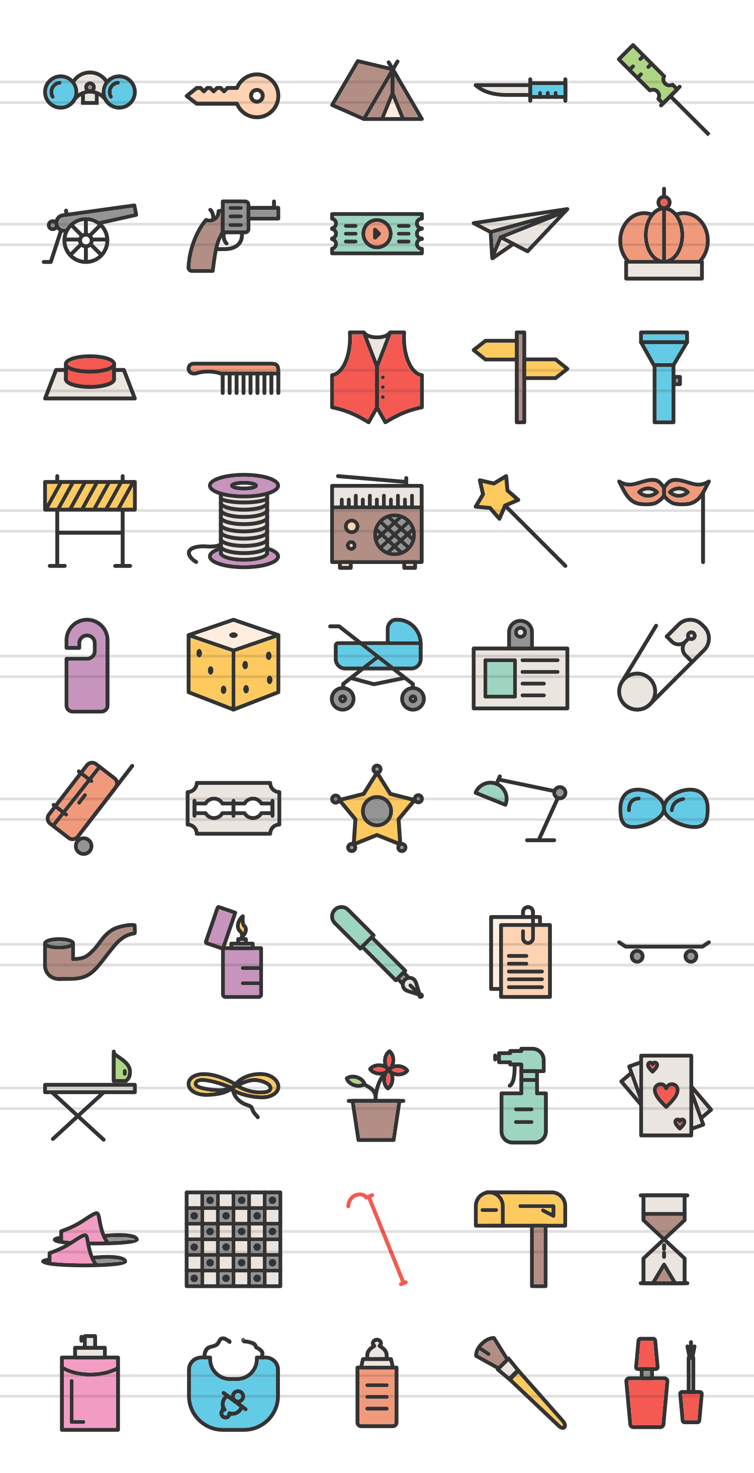 50 Objects Linear Multicolor Icons example image 2