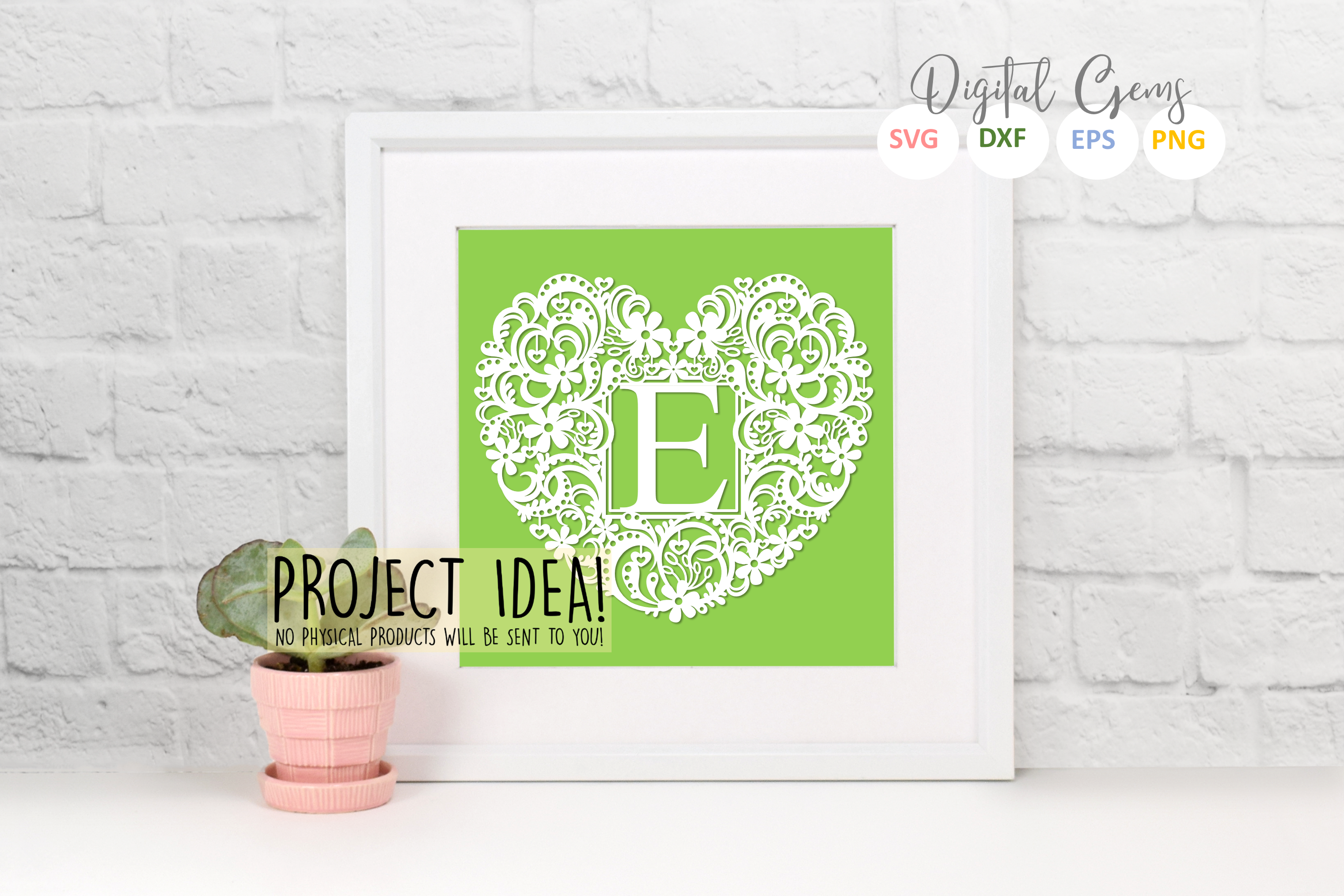 Letter E paper cut design. SVG / DXF / EPS / PNG files example image 2