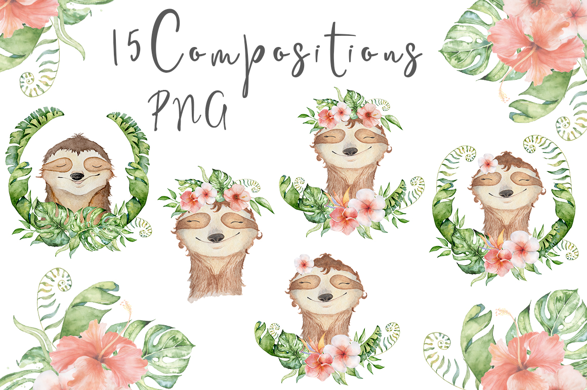 Lovely Sloths Watercolor set example image 5
