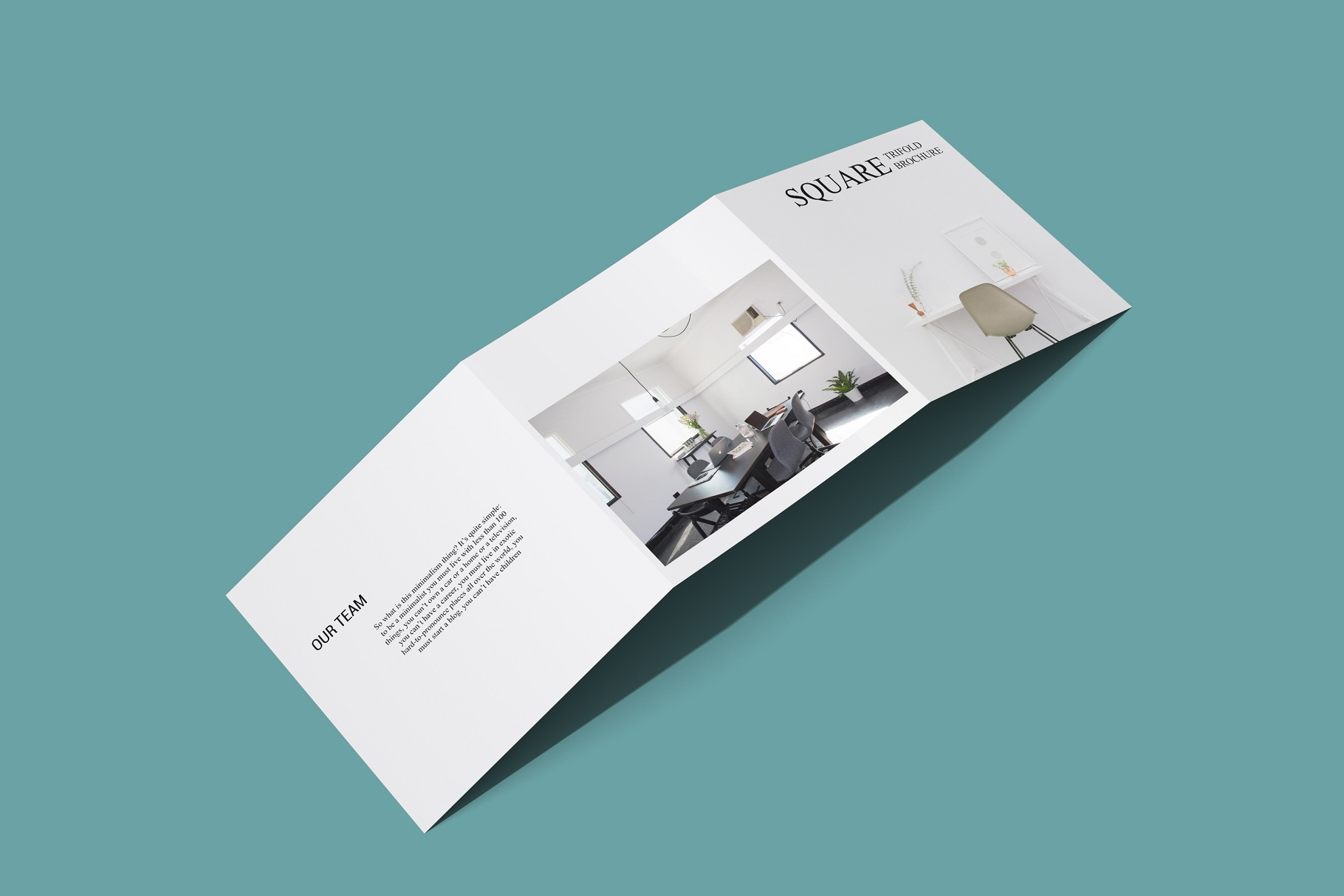 Square Trifold Brochure Mockup example image 7