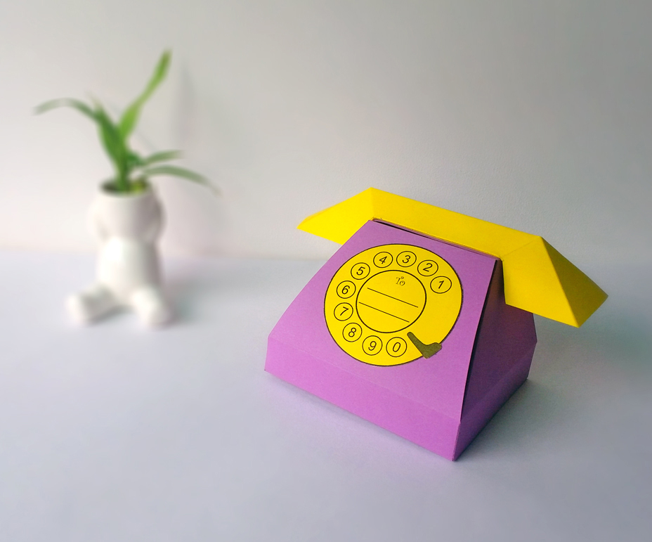 DIY Telephone favor - 3d papercraft example image 1