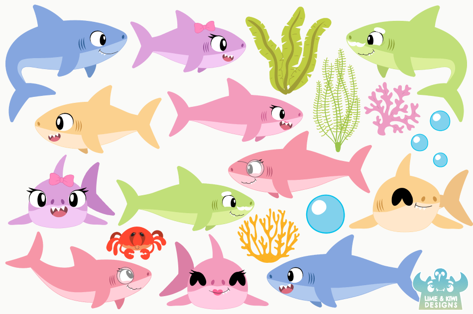 Shark Family Clipart, Instant Download Vector Art example image 2