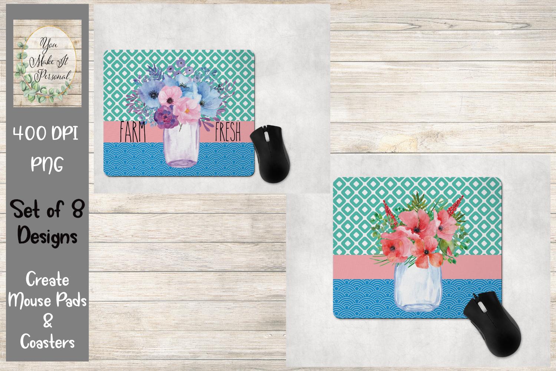 Floral Mason Jar- Mouse Pad and Coaster Bundle example image 3