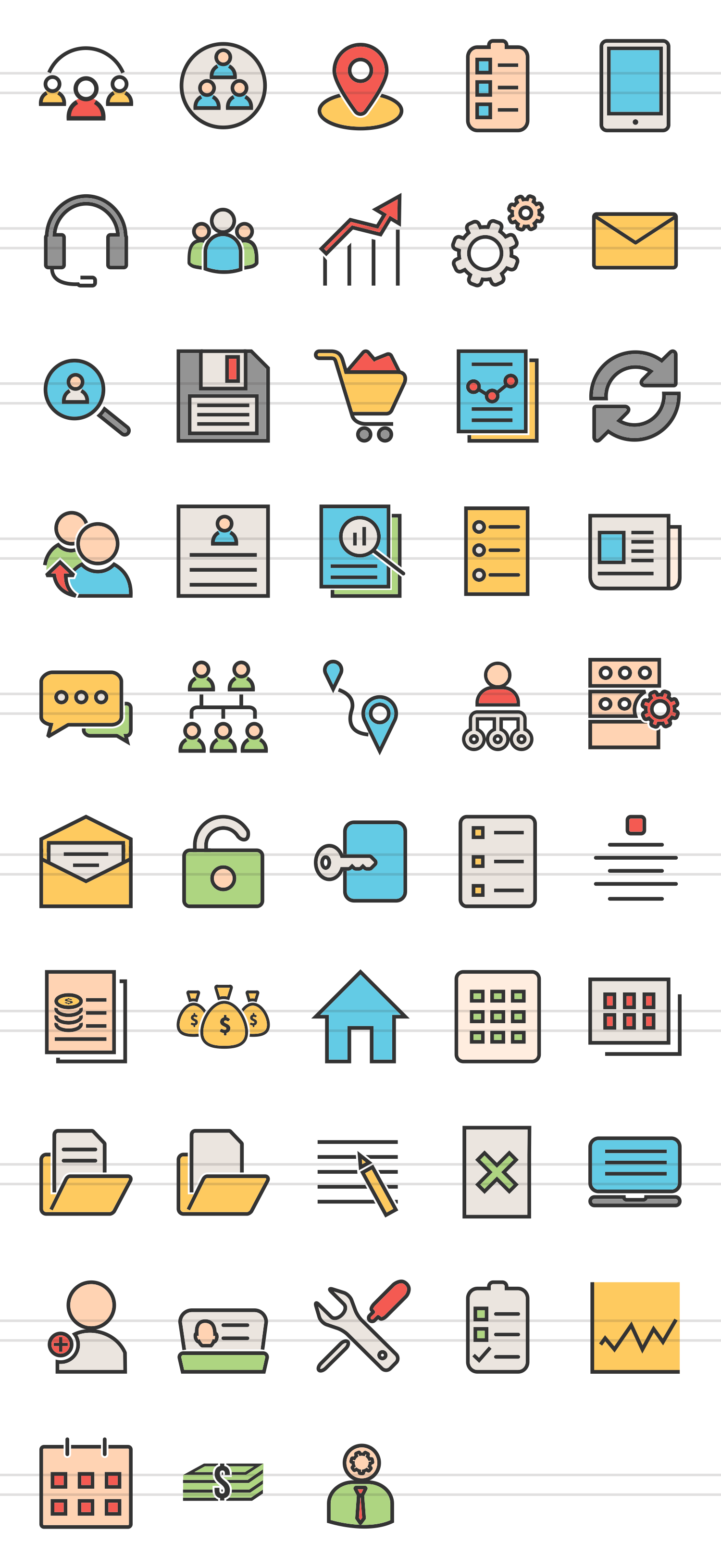 48 Admin Dashboard Linear Multicolor Icons example image 2