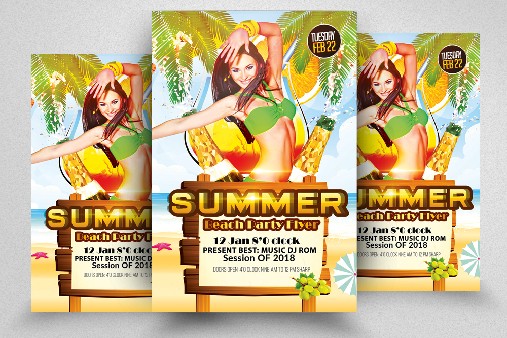 10 Summer Beach Cocktail Party Flyers Bundle example image 8