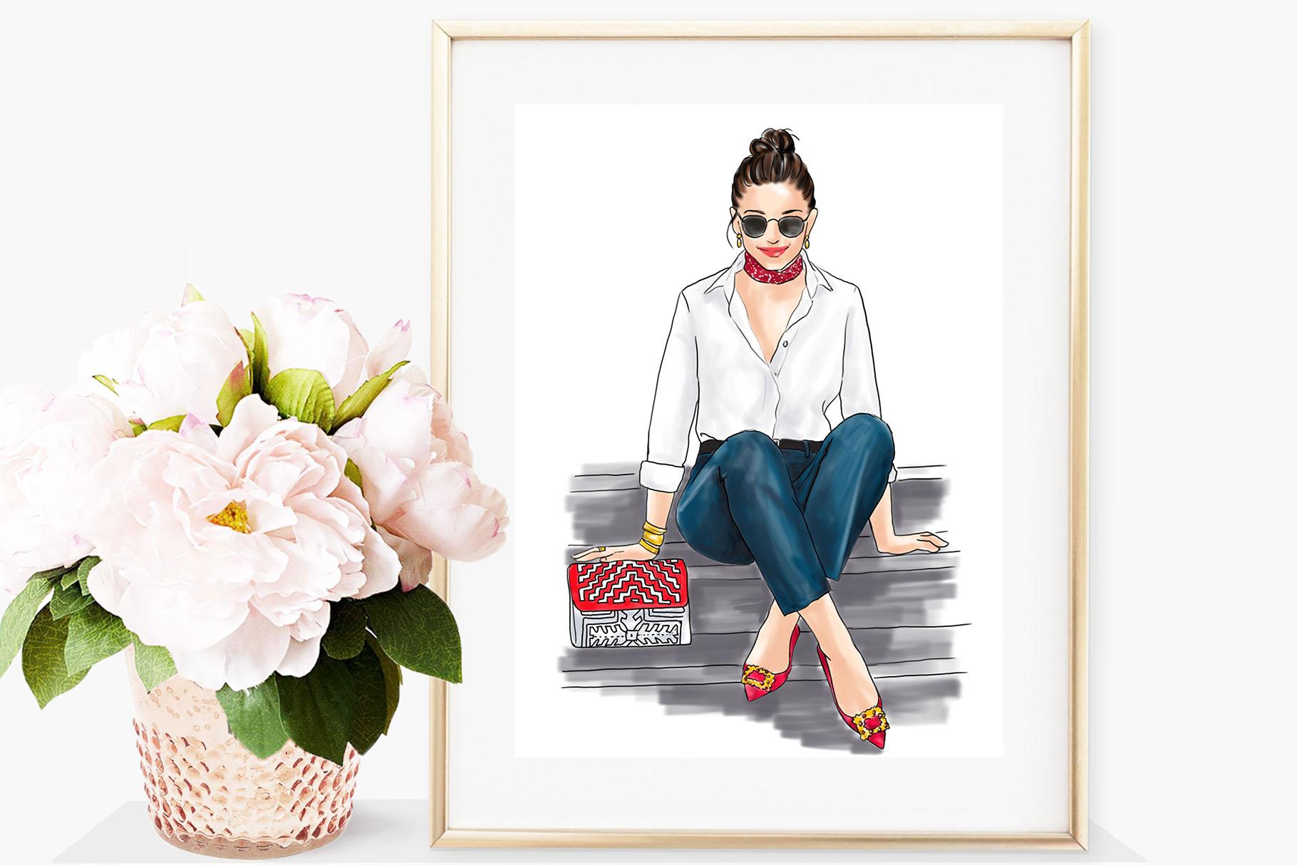 Fashion illustration - Girl in White Shirt & Jeans - Light example image 4