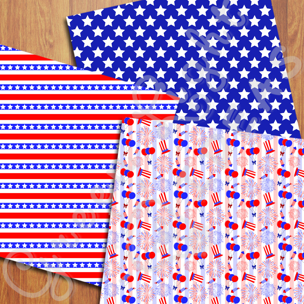4th Of July Digital Papers, Independence Day Backgrounds example image 3