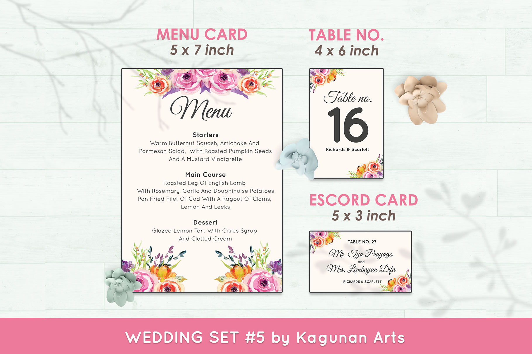 Wedding Invitation Set #5 Watercolor Floral Flower Style example image 6