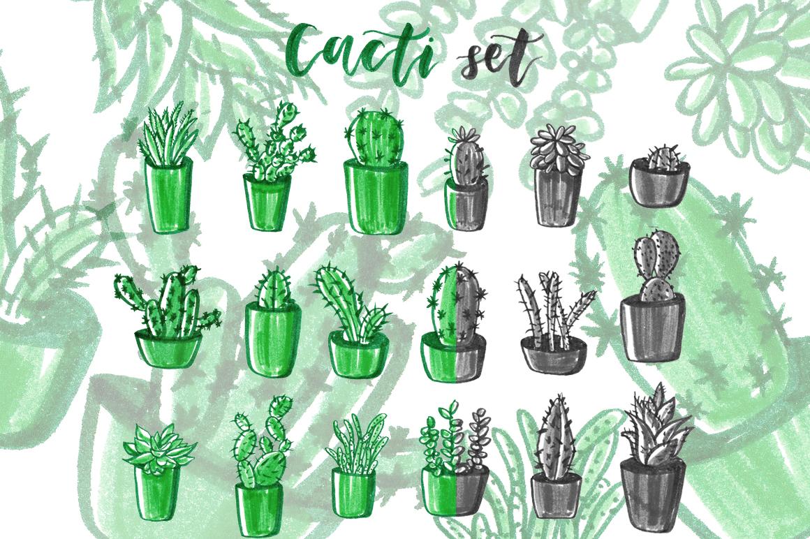 Cacti hand drawn set. example image 1
