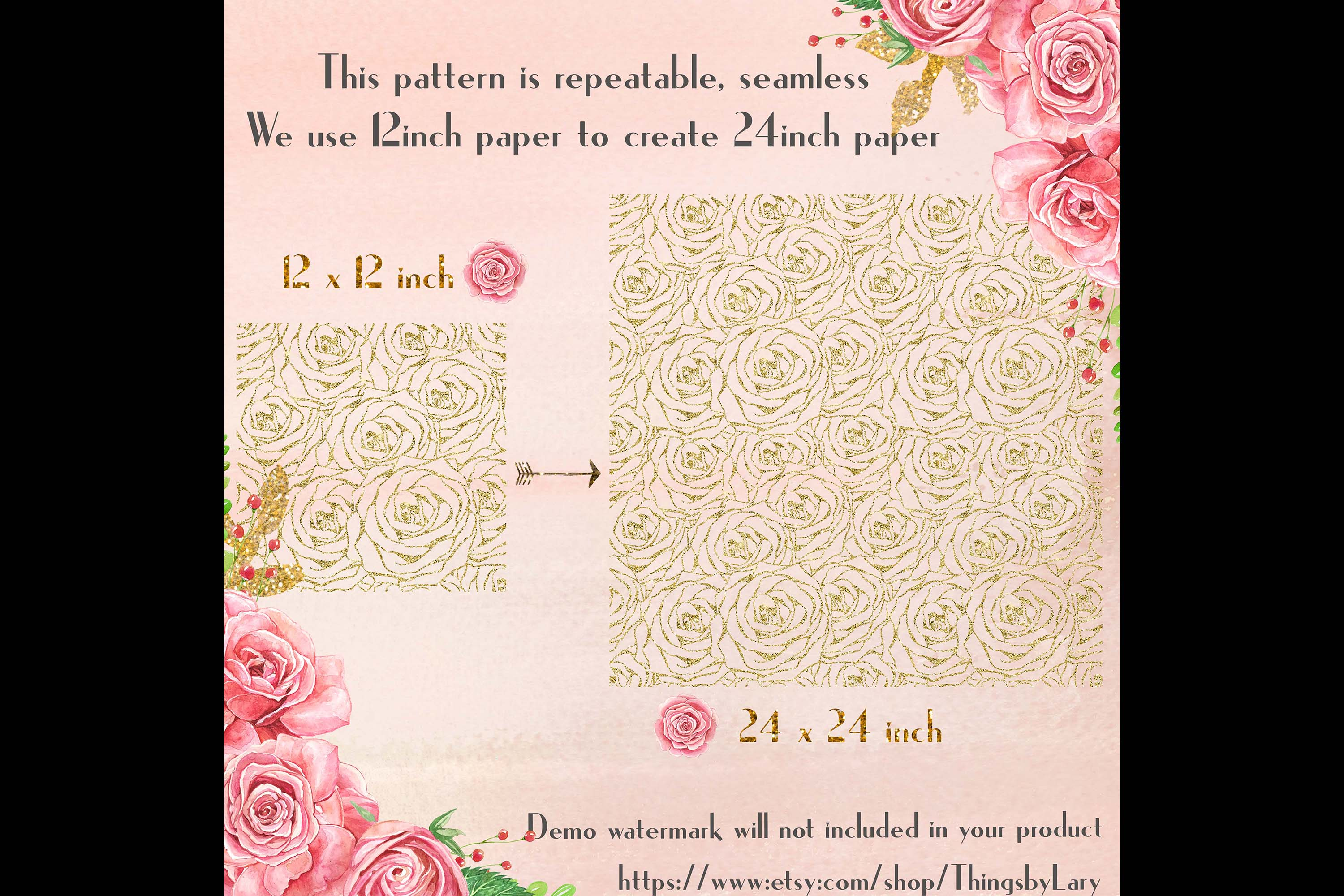 16 Seamless Glitter Rose Net Overlay Digital Images PNG example image 2