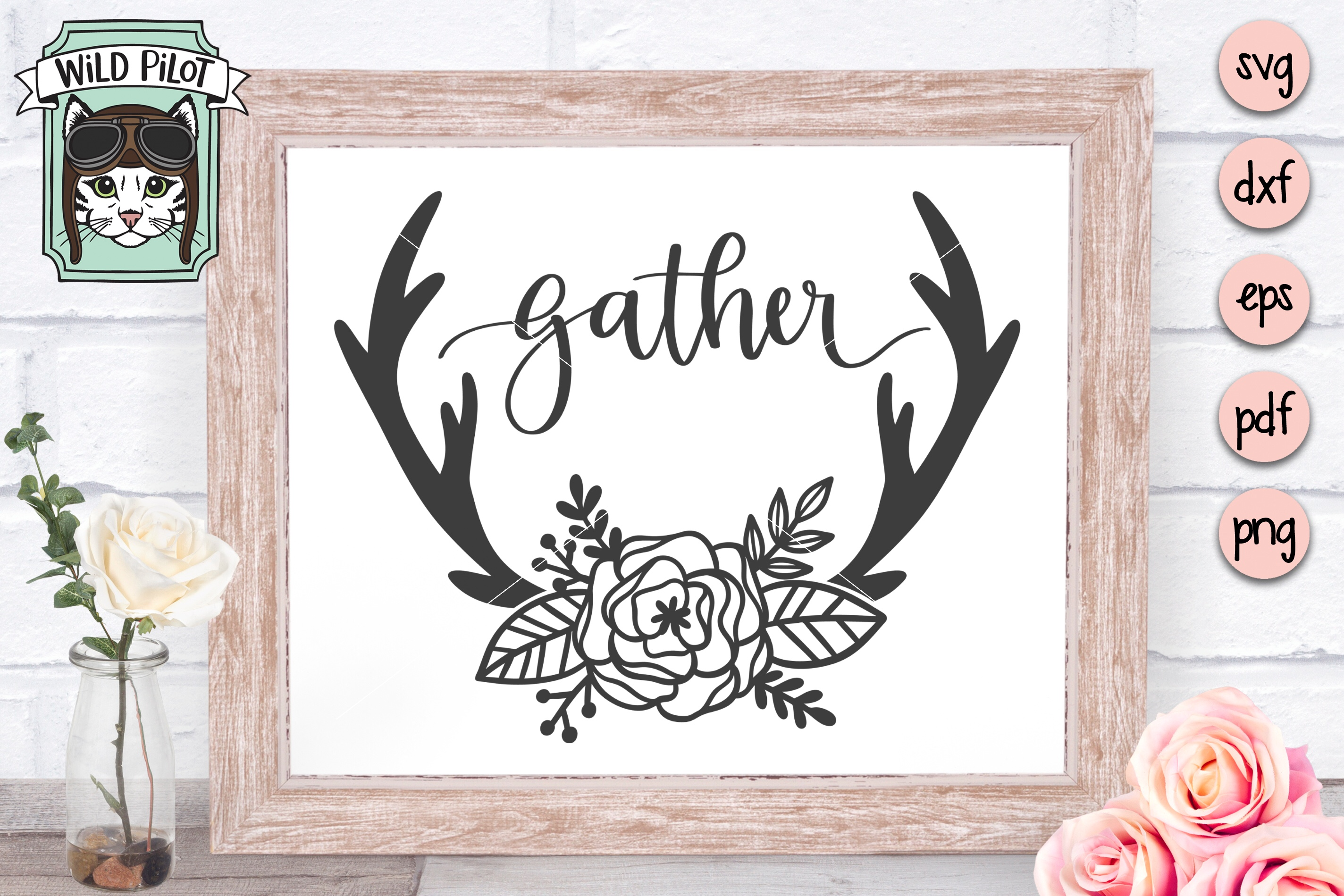 Gather SVG, Deer Antlers cut file, Flowers, Home Decor example image 2