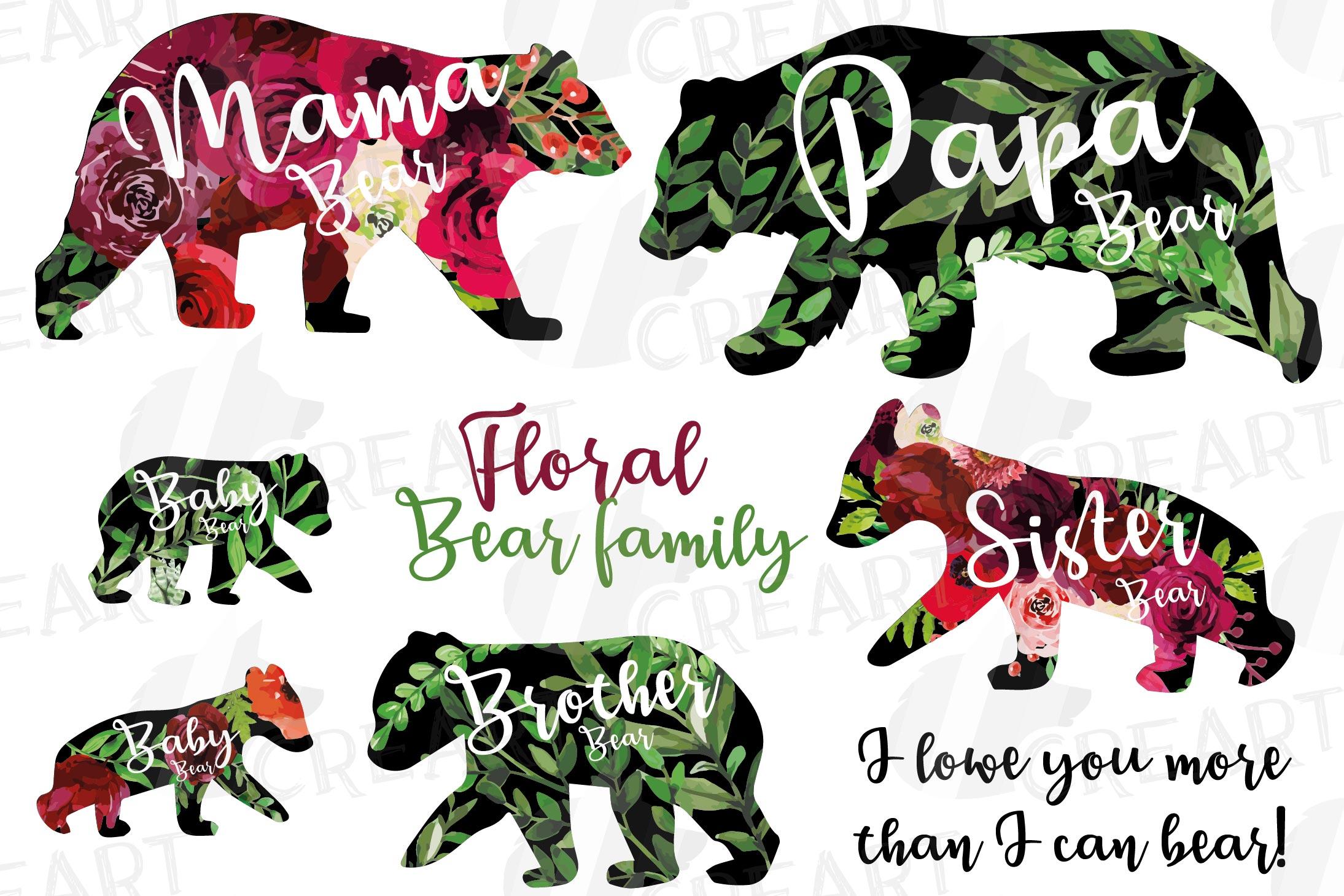 Floral bear family, sister, brother, baby, papa, mama bear example image 1