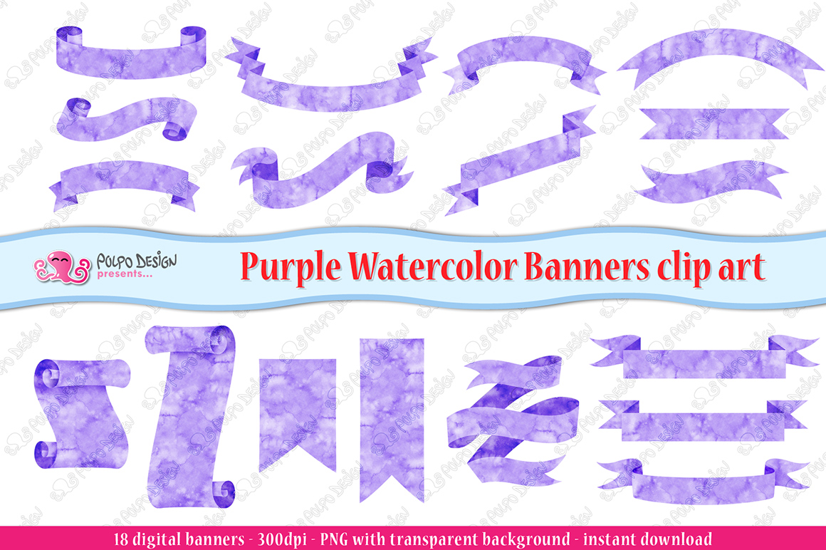 Purple Watercolor Banner clip art example image 2
